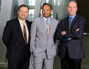 From left, Dr. Andrew Demchuk, Dr. Mayank Goyal and Dr. Michael Hill.
